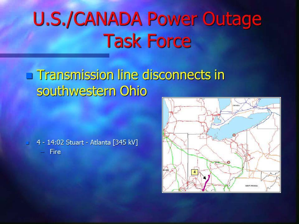U.S./CANADA Power Outage Task Force n Transmission line disconnects in southwestern Ohio n 4 - 14:02 Stuart - Atlanta [345 kV] –Fire