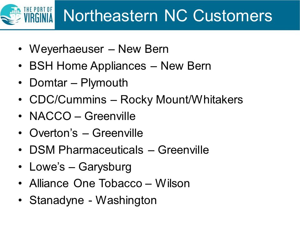 Northeastern NC Customers Weyerhaeuser – New Bern BSH Home Appliances – New Bern Domtar – Plymouth CDC/Cummins – Rocky Mount/Whitakers NACCO – Greenvi