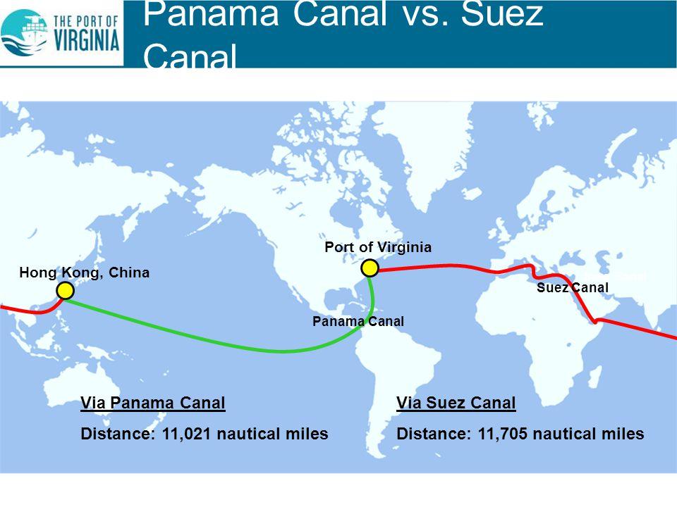 Suez Canal Panama Canal Via Panama Canal Distance: 11,021 nautical miles Via Suez Canal Distance: 11,705 nautical miles Panama Canal vs. Suez Canal Ho