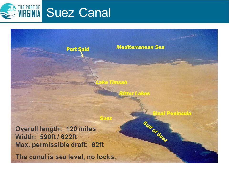 Suez Canal Mediterranean Sea Port Said Lake Timsah Bitter Lakes Suez Sinai Peninsula Gulf of Suez Overall length: 120 miles Width: 590ft / 622ft Max.