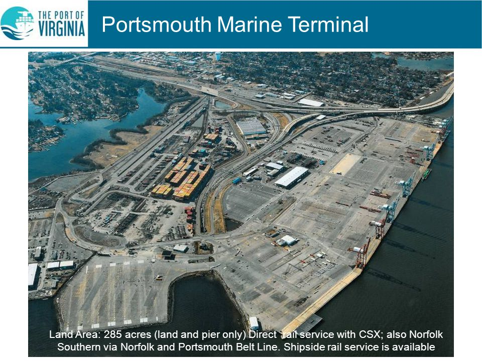 Portsmouth Marine Terminal Land Area: 285 acres (land and pier only) Direct rail service with CSX; also Norfolk Southern via Norfolk and Portsmouth Belt Line.