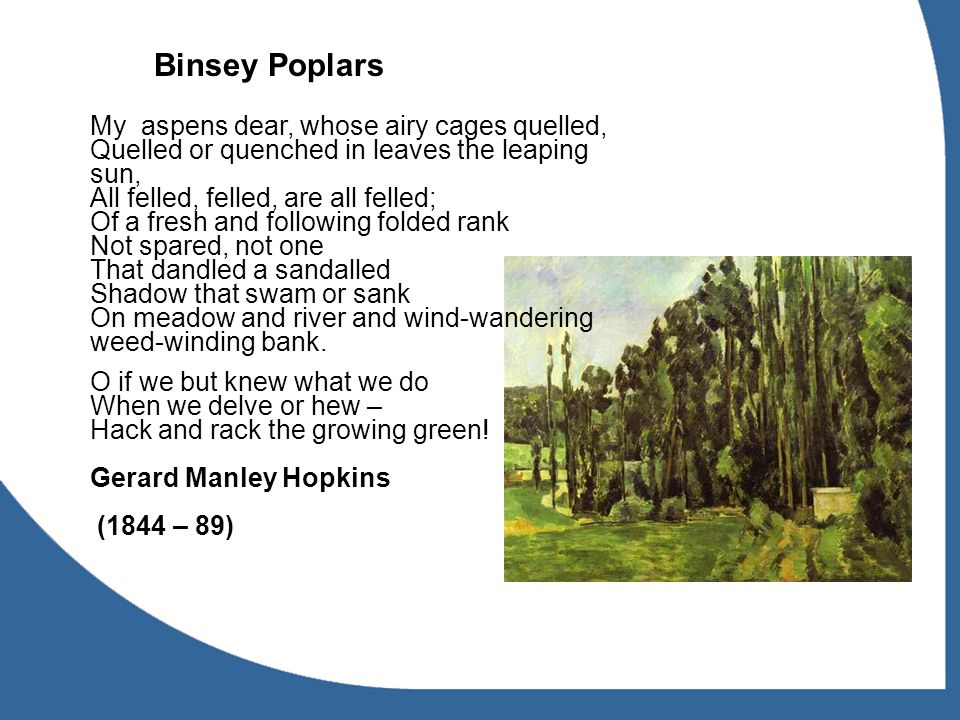 Binsey Poplars My aspens dear, whose airy cages quelled, Quelled or quenched in leaves the leaping sun, All felled, felled, are all felled; Of a fresh