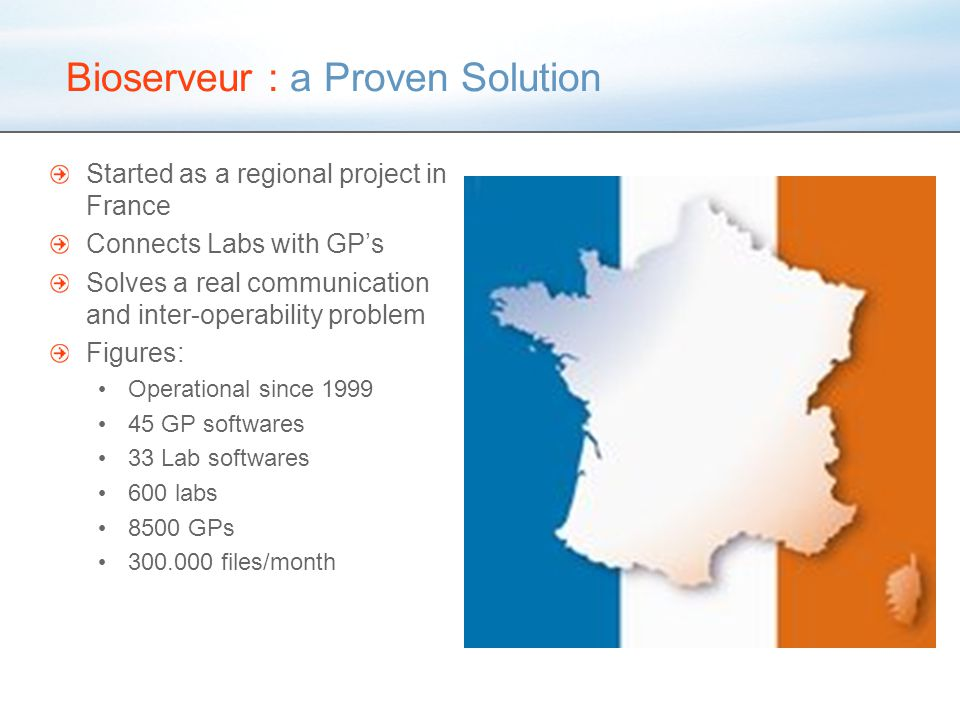 Bioserveur : a Proven Solution Started as a regional project in France Connects Labs with GP's Solves a real communication and inter-operability problem Figures: Operational since 1999 45 GP softwares 33 Lab softwares 600 labs 8500 GPs 300.000 files/month