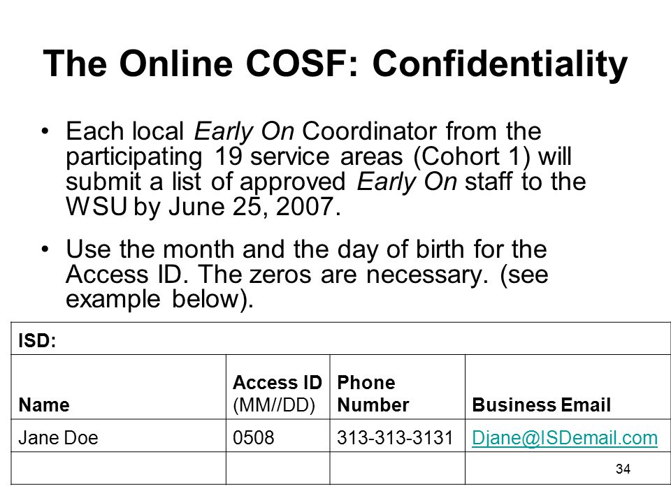 34 The Online COSF: Confidentiality Each local Early On Coordinator from the participating 19 service areas (Cohort 1) will submit a list of approved