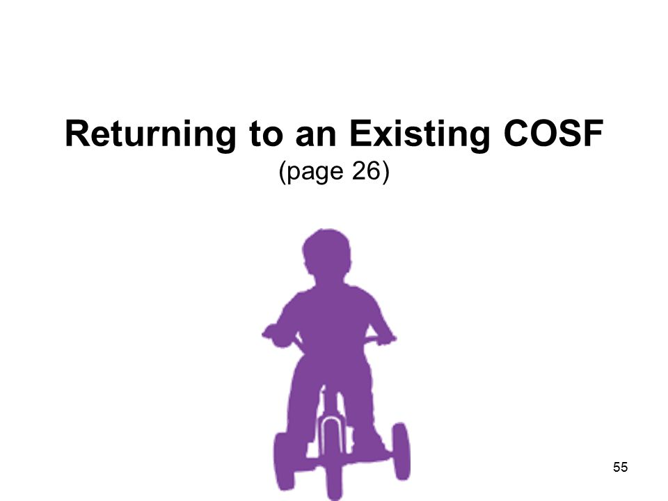 55 Returning to an Existing COSF (page 26)