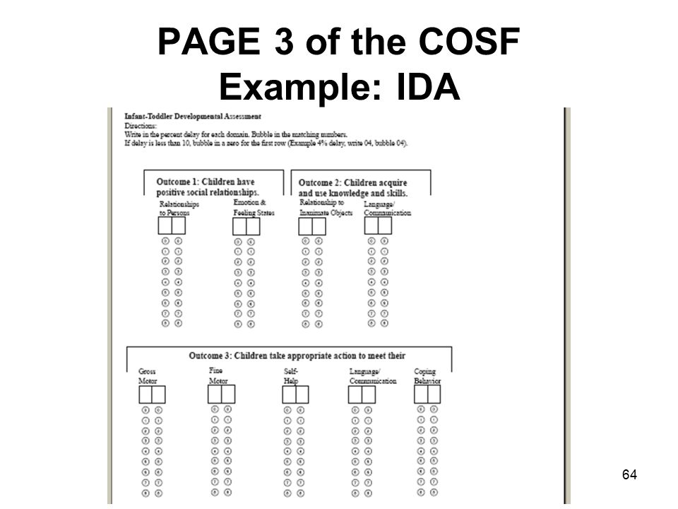 64 PAGE 3 of the COSF Example: IDA