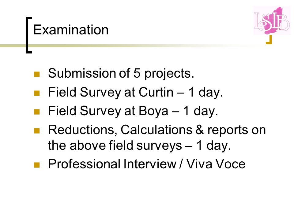 Examination Submission of 5 projects. Field Survey at Curtin – 1 day.