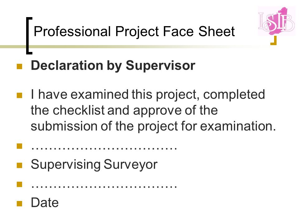 Professional Project Face Sheet Declaration by Supervisor I have examined this project, completed the checklist and approve of the submission of the project for examination.