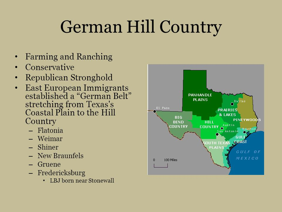 German Hill Country Farming and Ranching Conservative Republican Stronghold East European Immigrants established a German Belt stretching from Texas s Coastal Plain to the Hill Country – Flatonia – Weimar – Shiner – New Braunfels – Gruene – Fredericksburg LBJ born near Stonewall