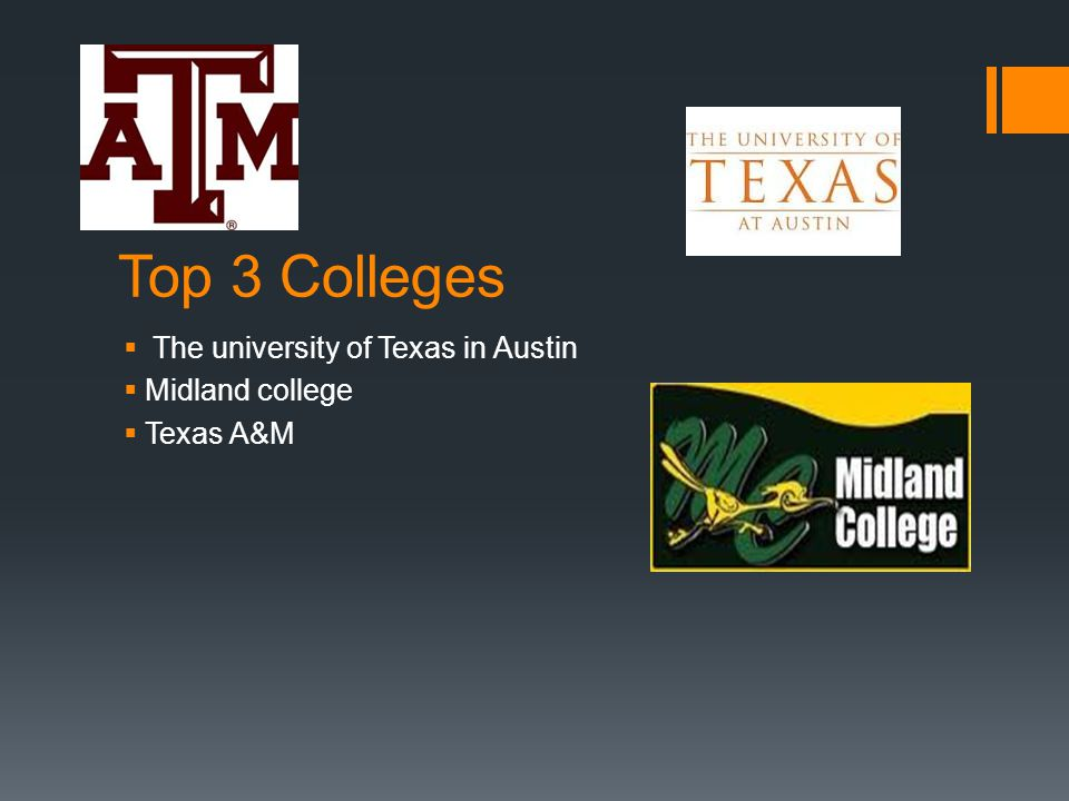 Top 3 Colleges  The university of Texas in Austin  Midland college  Texas A&M