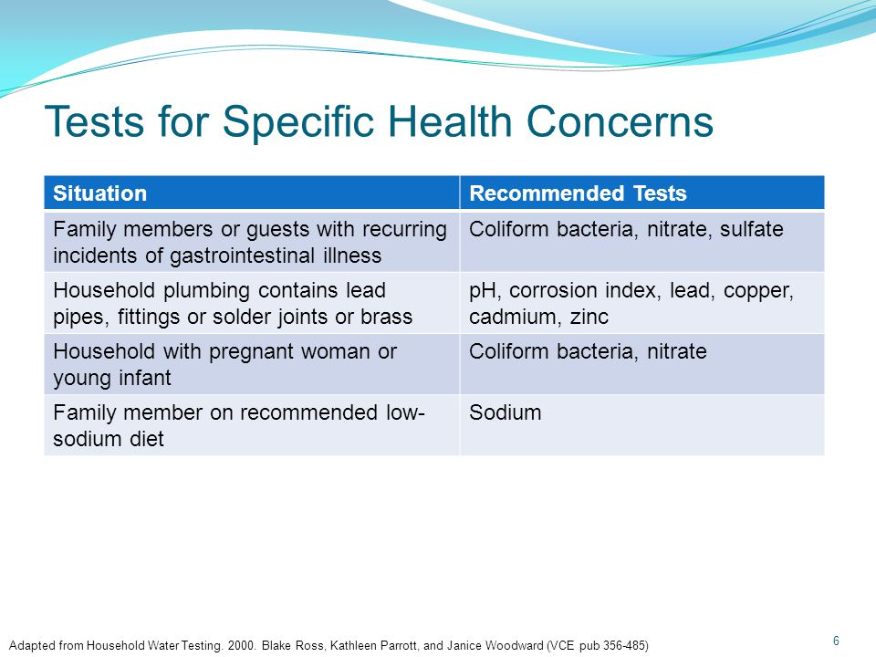 Tests for Specific Health Concerns 6 SituationRecommended Tests Family members or guests with recurring incidents of gastrointestinal illness Coliform bacteria, nitrate, sulfate Household plumbing contains lead pipes, fittings or solder joints or brass pH, corrosion index, lead, copper, cadmium, zinc Household with pregnant woman or young infant Coliform bacteria, nitrate Family member on recommended low- sodium diet Sodium Adapted from Household Water Testing.