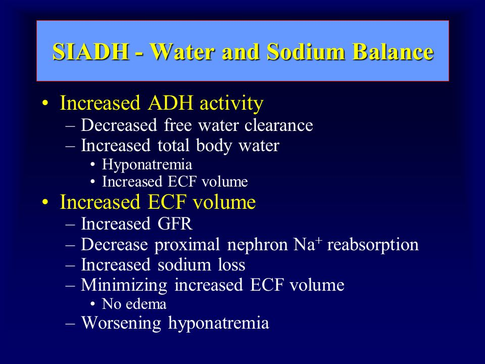 SIADH - Water and Sodium Balance Increased ADH activity –Decreased free water clearance –Increased total body water Hyponatremia Increased ECF volume –Increased GFR –Decrease proximal nephron Na + reabsorption –Increased sodium loss –Minimizing increased ECF volume No edema –Worsening hyponatremia