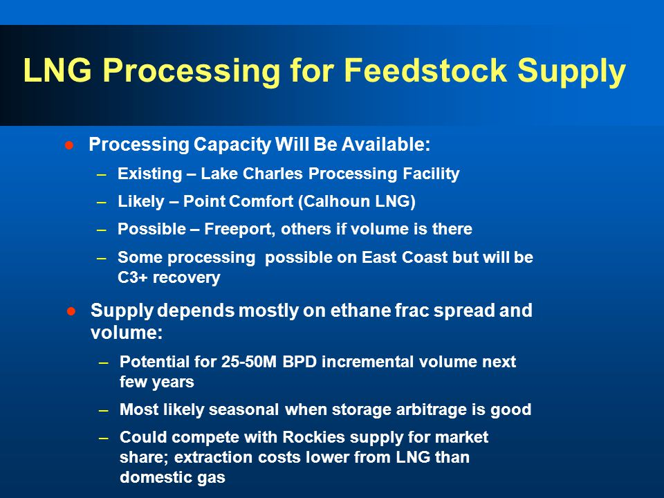 LNG Processing for Feedstock Supply Processing Capacity Will Be Available: –Existing – Lake Charles Processing Facility –Likely – Point Comfort (Calhoun LNG) –Possible – Freeport, others if volume is there –Some processing possible on East Coast but will be C3+ recovery Supply depends mostly on ethane frac spread and volume: –Potential for 25-50M BPD incremental volume next few years –Most likely seasonal when storage arbitrage is good –Could compete with Rockies supply for market share; extraction costs lower from LNG than domestic gas