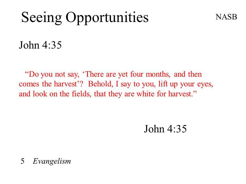 Seeing Opportunities John 4:35 NASB Do you not say, 'There are yet four months, and then comes the harvest'.