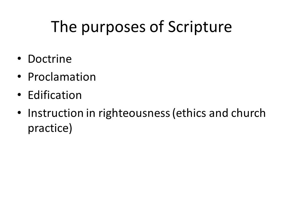 The purposes of Scripture: Instruction in righteousness Matthew 25 God's preferential option for the poor Humans as created in the image of God Identification of big sins in our sermons or ministry – Racism, sexism – Waste of natural resources and pollution of the environment – Violence and militarism – Neglect of the poor; poverty, and hunger/starvation – The fractures in interpersonal relationships (marriage, congregational life, society and politics) – Not loving God (all sins are finally sins against the first commandment) – Not loving the neighbor (most sins against God are also sins against the neighbor)