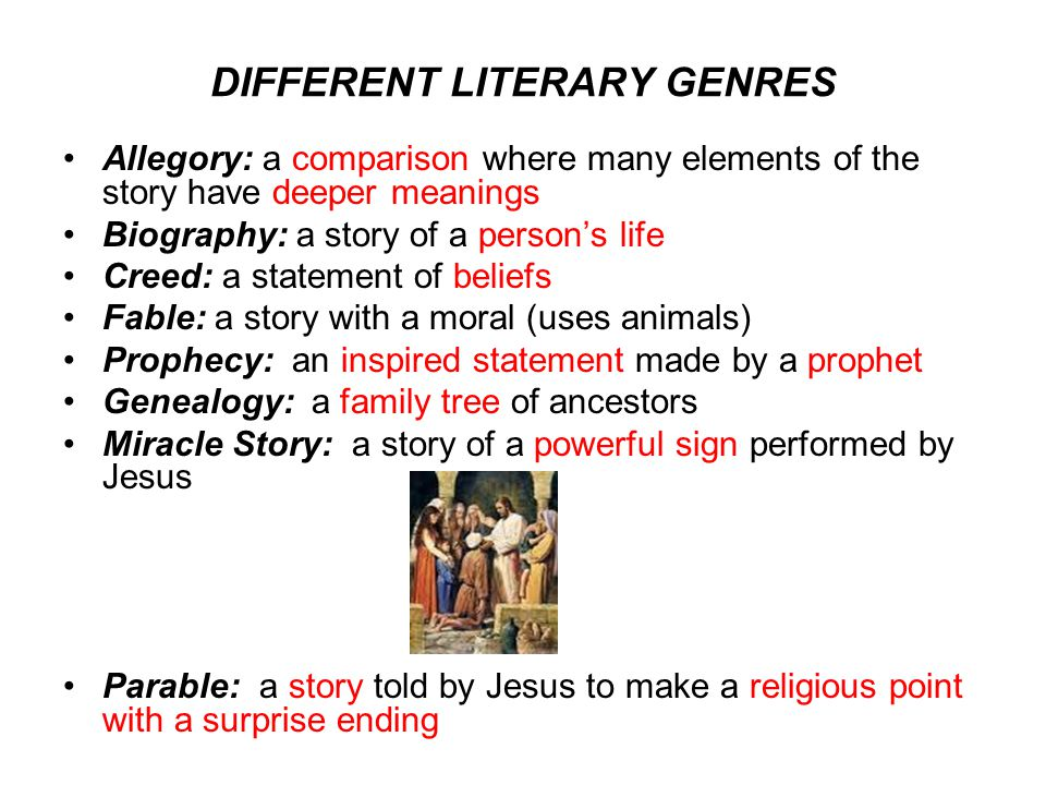 DIFFERENT LITERARY GENRES Allegory: a comparison where many elements of the story have deeper meanings Biography: a story of a person's life Creed: a statement of beliefs Fable: a story with a moral (uses animals) Prophecy: an inspired statement made by a prophet Genealogy: a family tree of ancestors Miracle Story: a story of a powerful sign performed by Jesus Parable: a story told by Jesus to make a religious point with a surprise ending
