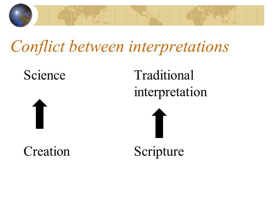Conflict between interpretations ScienceTraditional interpretation CreationScripture