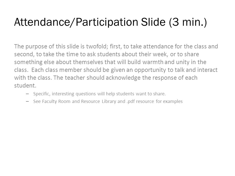 Attendance/Participation Insert Question and Names of Students Here: