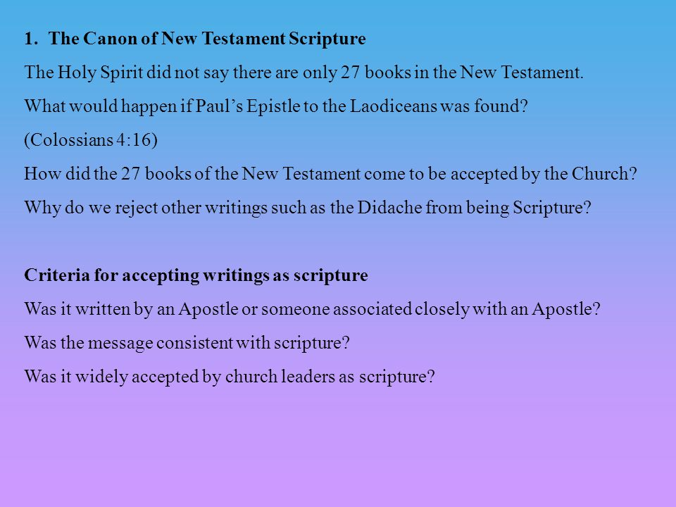 the new testament as church scripture Click here to read more about the new testament study bible and follow the church's he teaches theology and scripture at the franciscan.