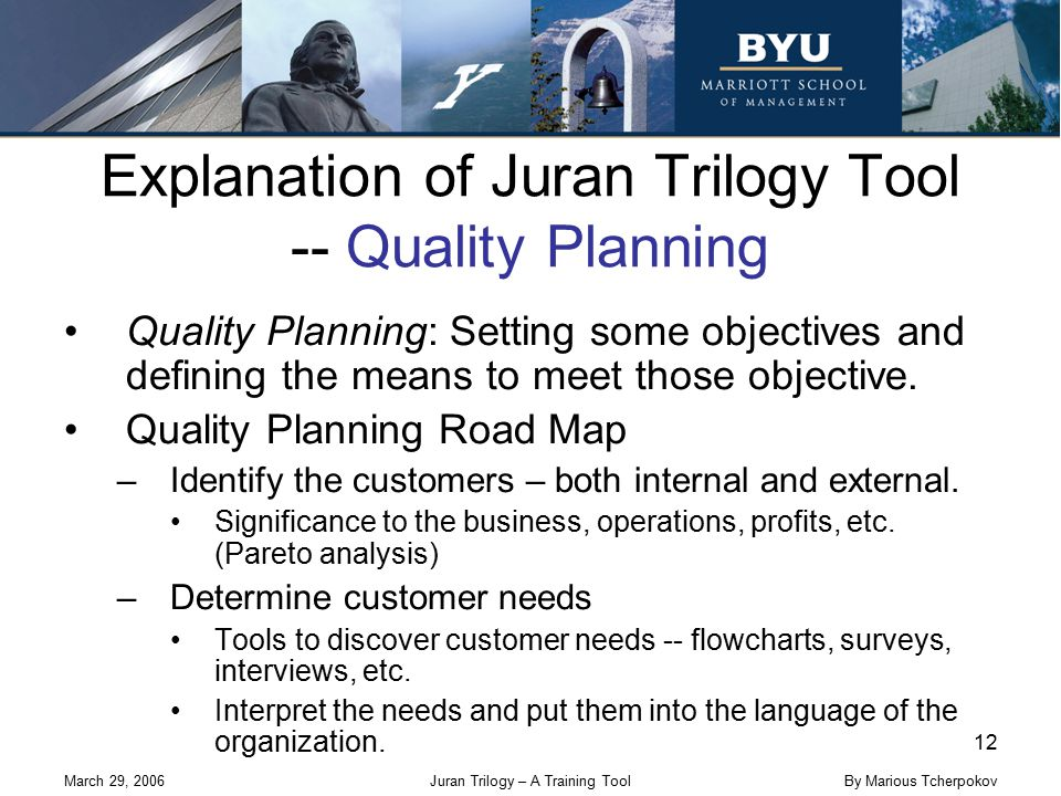March 29, 2006Juran Trilogy – A Training Tool 12 By Marious Tcherpokov Explanation of Juran Trilogy Tool -- Quality Planning Quality Planning: Setting