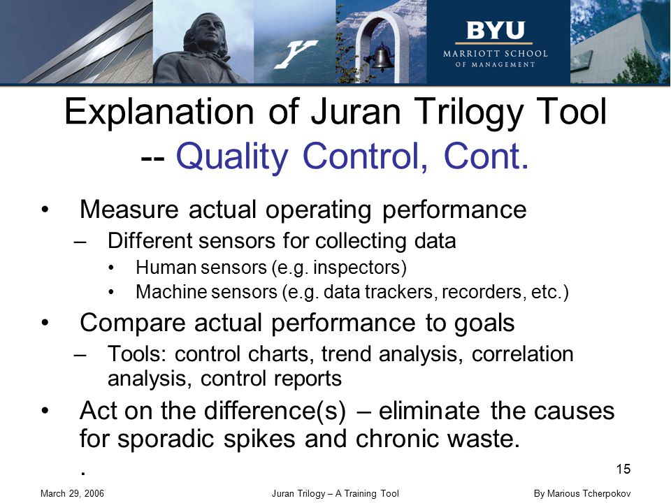 March 29, 2006Juran Trilogy – A Training Tool 15 By Marious Tcherpokov Explanation of Juran Trilogy Tool -- Quality Control, Cont. Measure actual oper