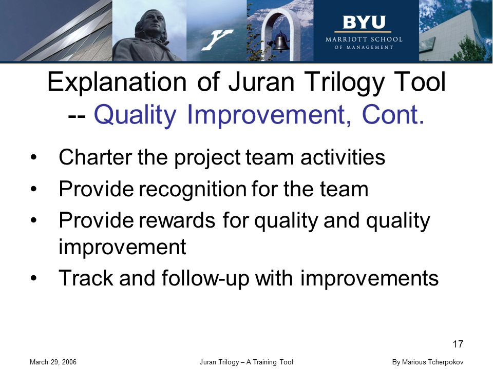 March 29, 2006Juran Trilogy – A Training Tool 17 By Marious Tcherpokov Explanation of Juran Trilogy Tool -- Quality Improvement, Cont. Charter the pro