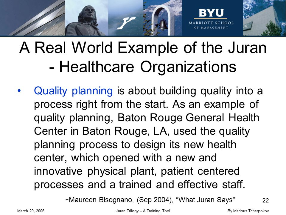 March 29, 2006Juran Trilogy – A Training Tool 22 By Marious Tcherpokov A Real World Example of the Juran - Healthcare Organizations Quality planning i