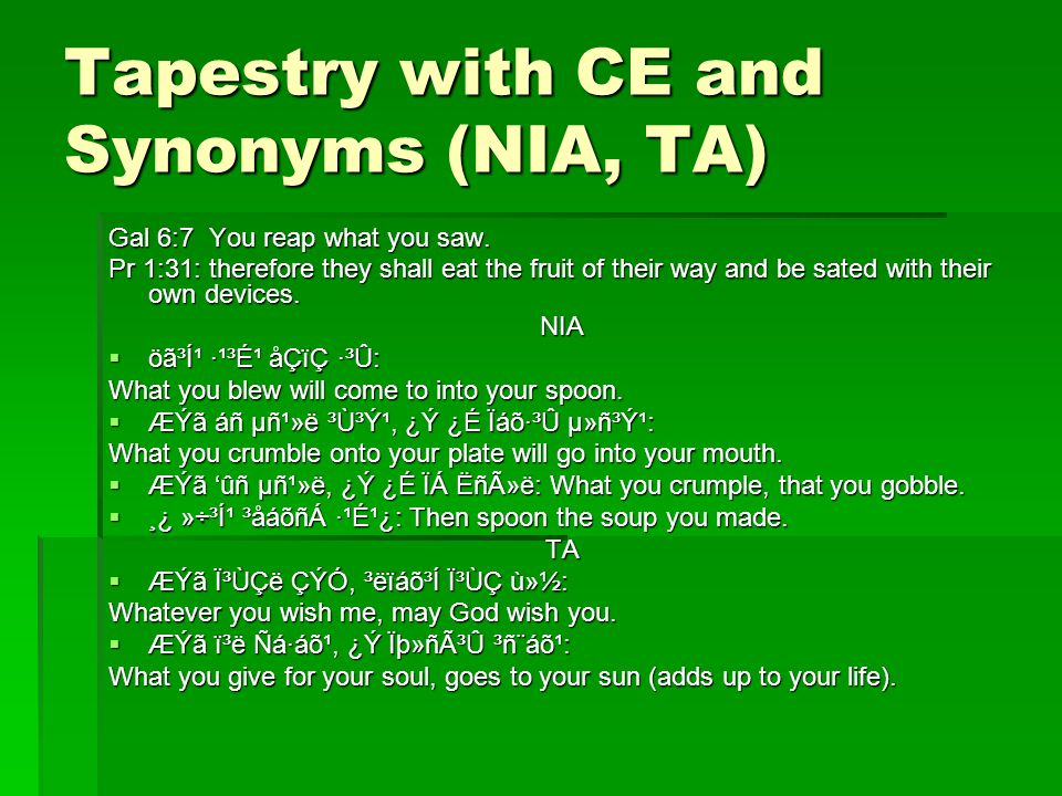 Tapestry with CE and Synonyms (NIA, TA) Gal 6:7 You reap what you saw.