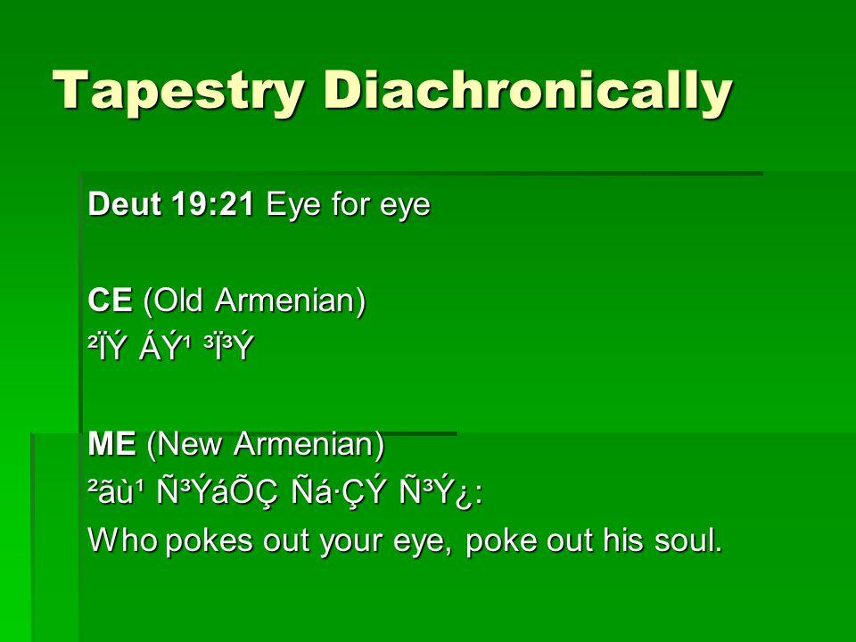 Tapestry Diachronically Deut 19:21 Eye for eye CE (Old Armenian) ²ÏÝ Áݹ ³Ï³Ý ME (New Armenian) ²ãù¹ ѳÝáÕÇ Ñá·ÇÝ Ñ³Ý¿: Who pokes out your eye, poke out his soul.