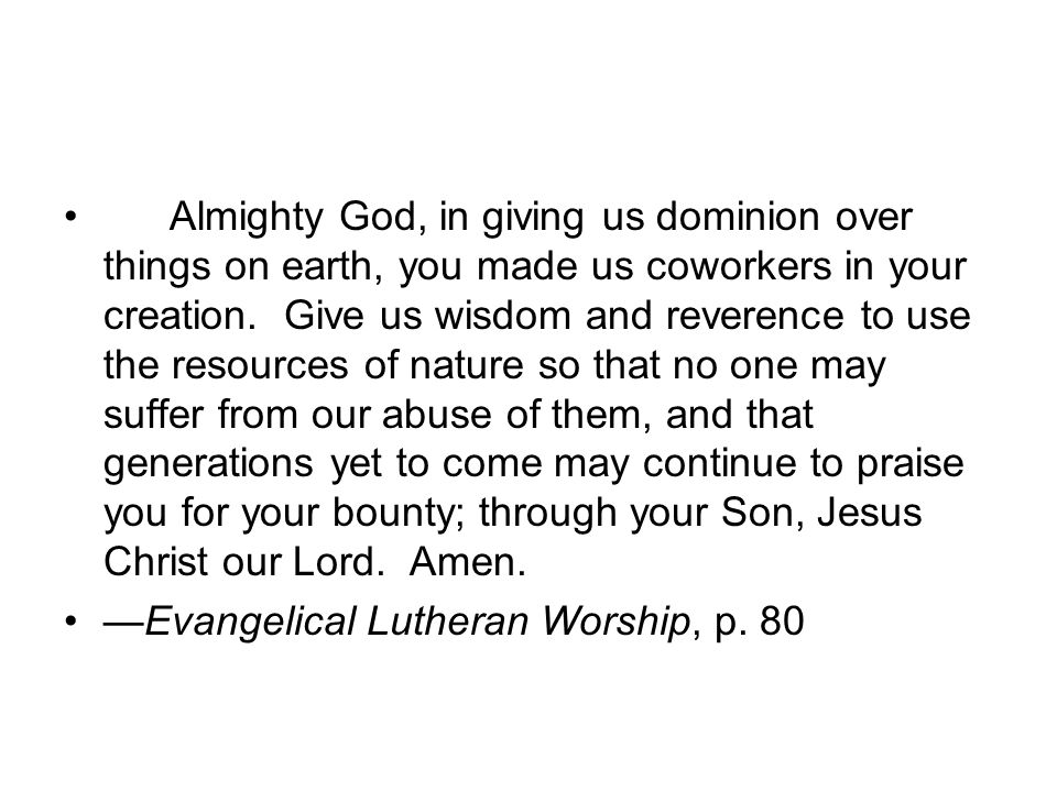 Almighty God, in giving us dominion over things on earth, you made us coworkers in your creation. Give us wisdom and reverence to use the resources of