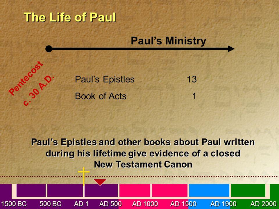 1500 BC 500 BC AD 1 AD 500 AD 1000 AD 1500 AD 1900 AD 2000 The Life of Paul The Life of Paul Paul's Ministry Pentecost c. 30 A.D. Paul's Epistles13 Bo