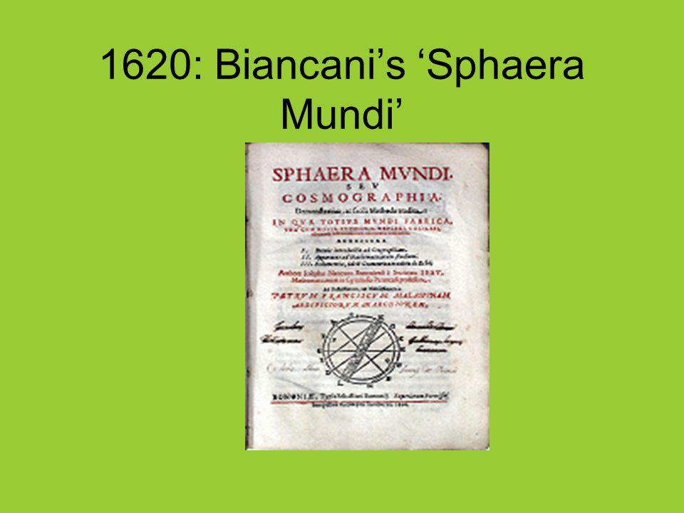 1620: Biancani's 'Sphaera Mundi'
