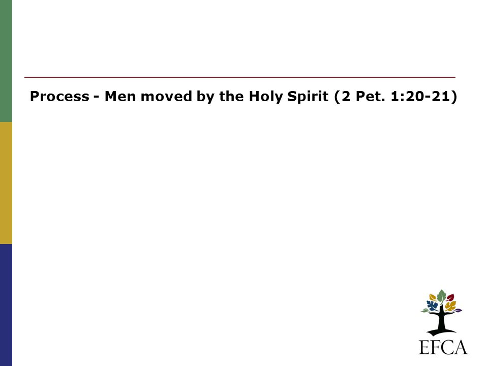 Process - Men moved by the Holy Spirit (2 Pet. 1:20-21)