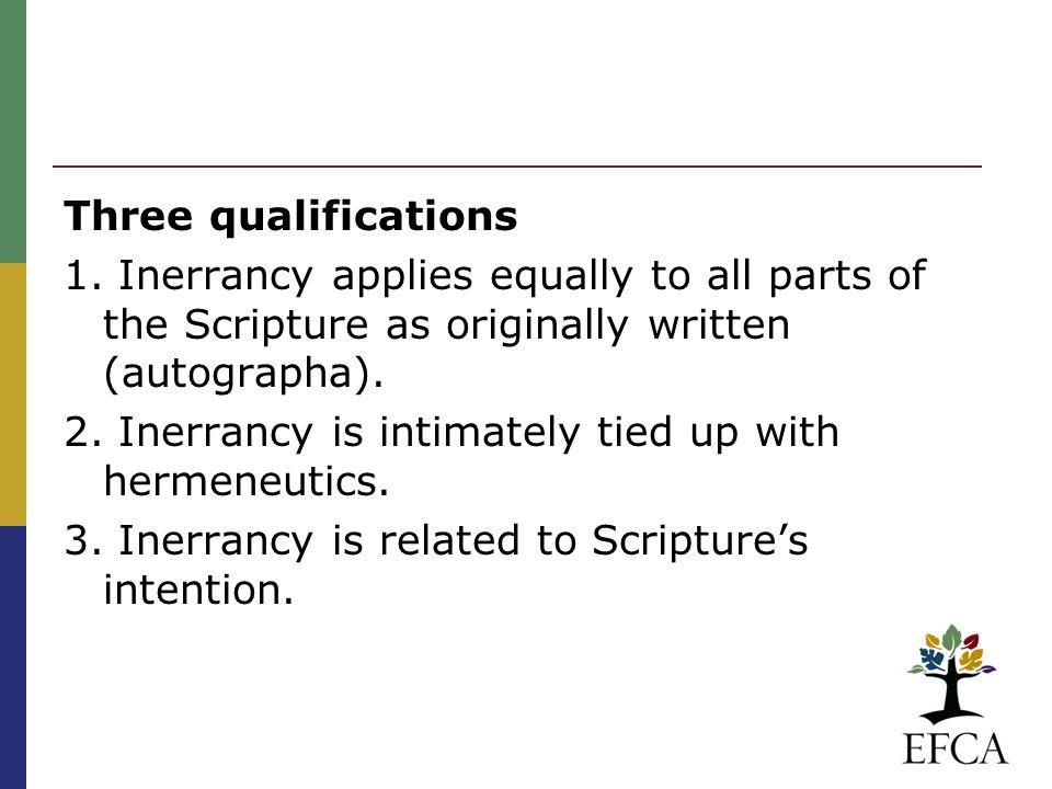 Three qualifications 1.