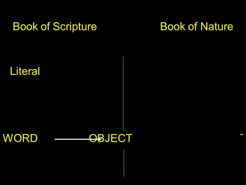 Book of Scripture Book of Nature Literal Allegorical OBJECT WORD OBJECTOBJECT OBJECT