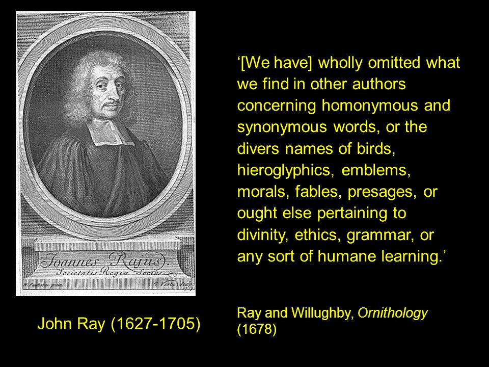 John Ray (1627-1705) '[We have] wholly omitted what we find in other authors concerning homonymous and synonymous words, or the divers names of birds, hieroglyphics, emblems, morals, fables, presages, or ought else pertaining to divinity, ethics, grammar, or any sort of humane learning.' Ray and Willughby, Ornithology (1678)