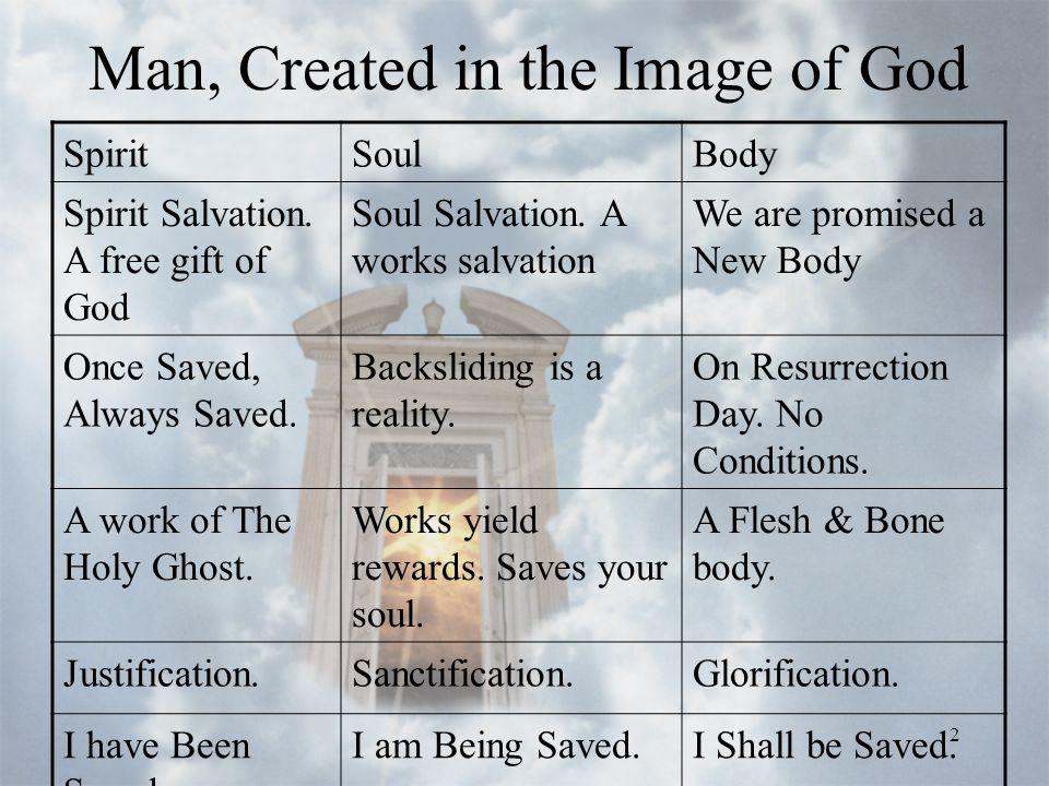 2 Man, Created in the Image of God SpiritSoulBody Spirit Salvation.