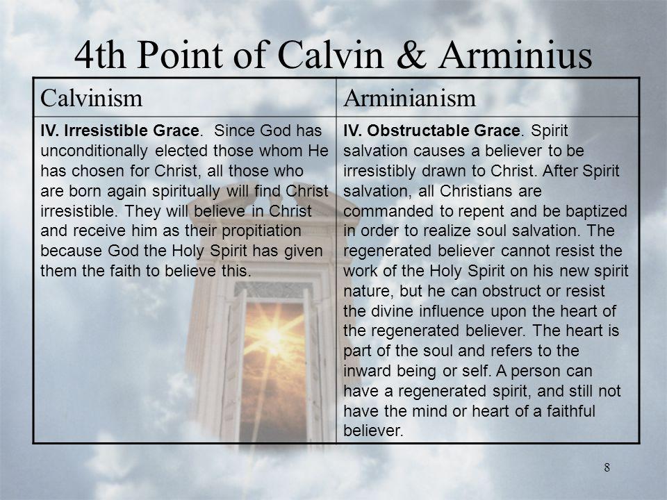8 4th Point of Calvin & Arminius CalvinismArminianism IV.