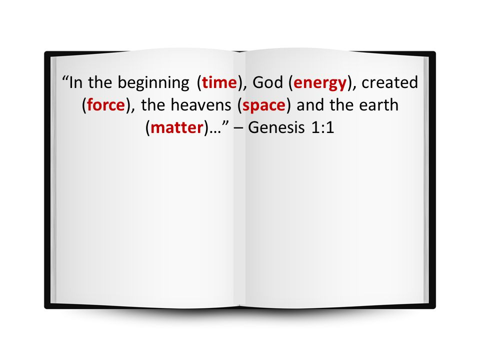 In the beginning (time), God (energy), created (force), the heavens (space) and the earth (matter)… – Genesis 1:1