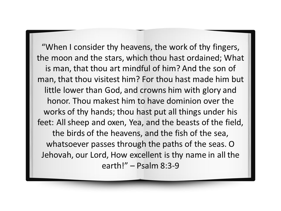When I consider thy heavens, the work of thy fingers, the moon and the stars, which thou hast ordained; What is man, that thou art mindful of him.