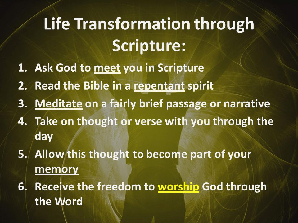 Life Transformation through Scripture: 1.Ask God to meet you in Scripture 2.Read the Bible in a repentant spirit 3.Meditate on a fairly brief passage or narrative 4.Take on thought or verse with you through the day 5.Allow this thought to become part of your memory 6.Receive the freedom to worship God through the Word