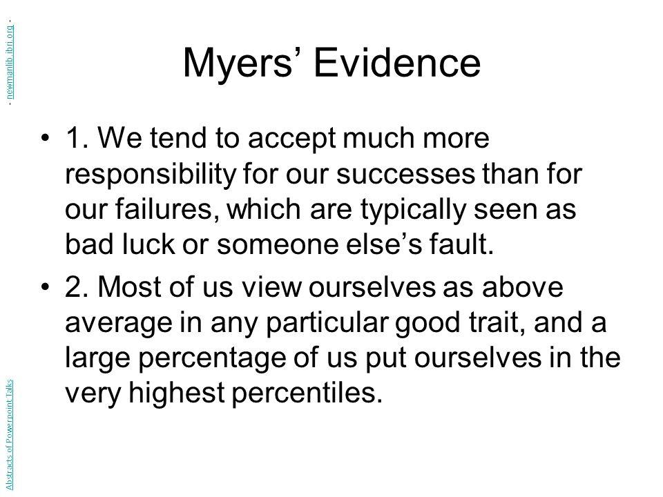 Myers' Evidence 1.