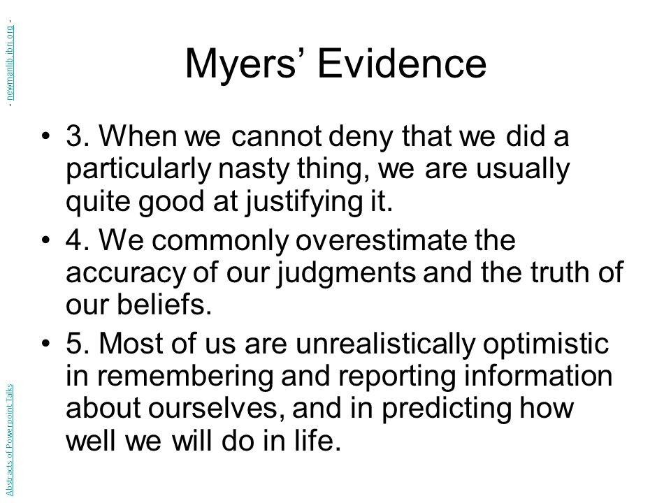 Myers' Evidence 3.
