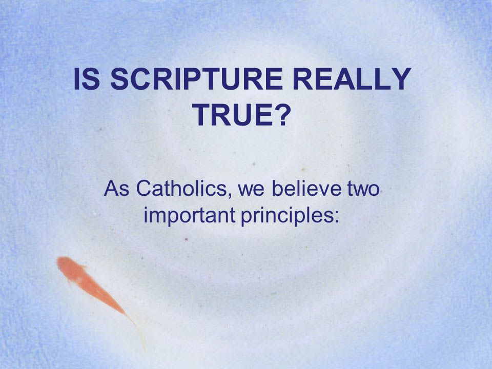 IS SCRIPTURE REALLY TRUE As Catholics, we believe two important principles: