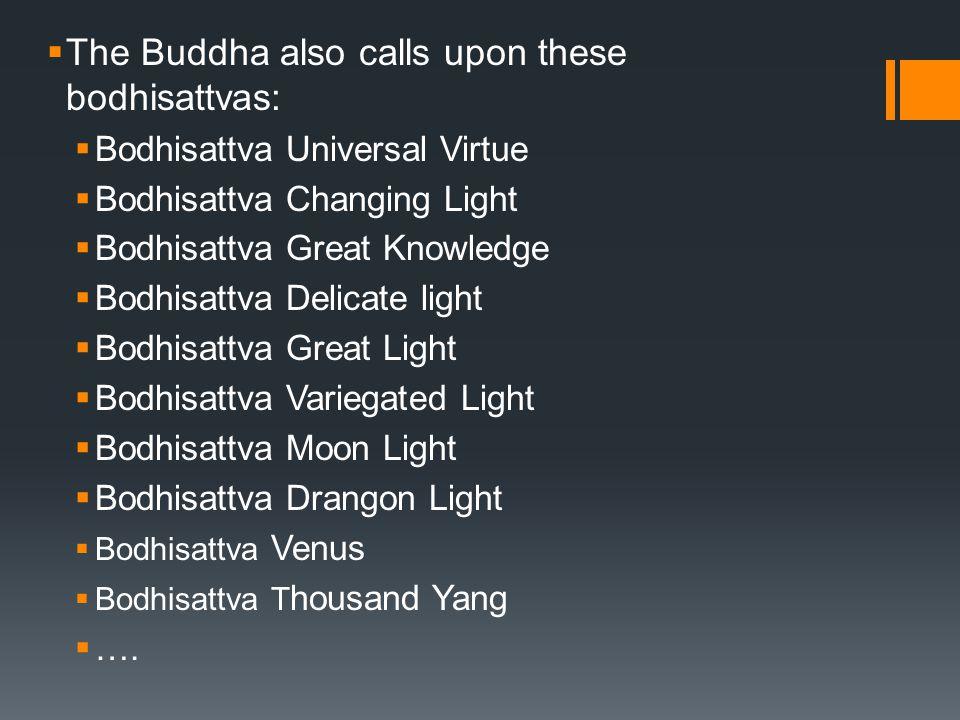  The Buddha also calls upon these bodhisattvas:  Bodhisattva Universal Virtue  Bodhisattva Changing Light  Bodhisattva Great Knowledge  Bodhisatt