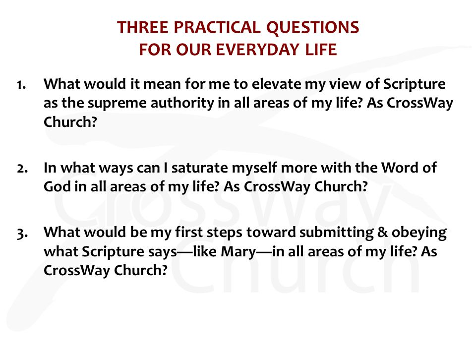 THREE PRACTICAL QUESTIONS FOR OUR EVERYDAY LIFE 1.What would it mean for me to elevate my view of Scripture as the supreme authority in all areas of my life.