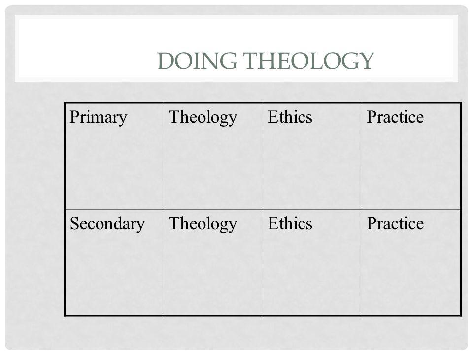 DOING THEOLOGY PrimaryTheologyEthicsPractice SecondaryTheologyEthicsPractice