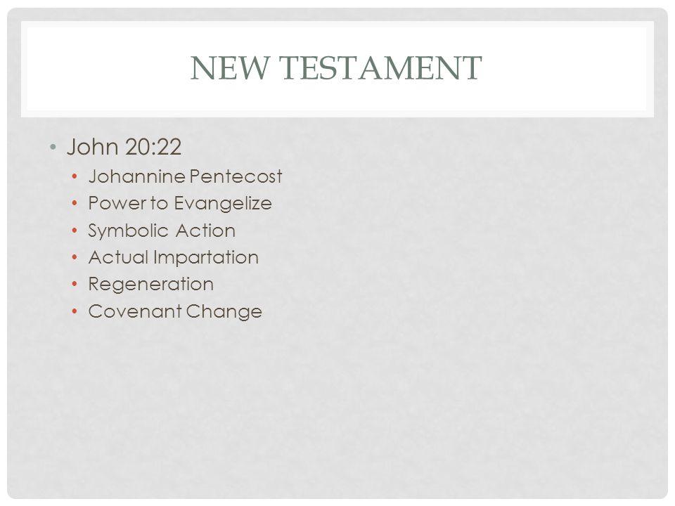 NEW TESTAMENT John 20:22 Johannine Pentecost Power to Evangelize Symbolic Action Actual Impartation Regeneration Covenant Change