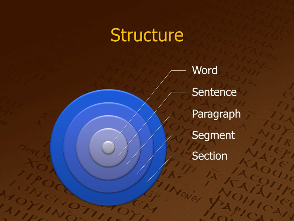 Structure Word Sentence Paragraph Segment Section