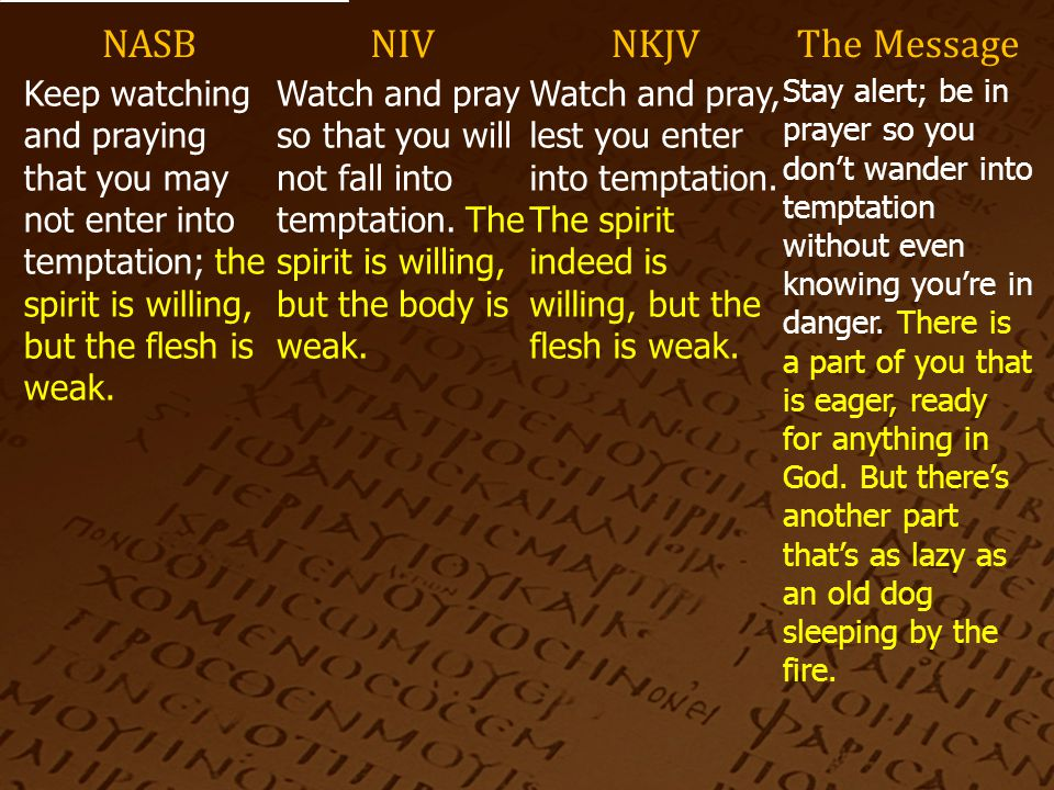 NASBNIVNKJVThe Message Keep watching and praying that you may not enter into temptation; the spirit is willing, but the flesh is weak.